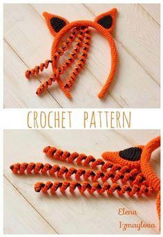 Crochet Monkey Pattern, Crochet Rabbit, Crochet Headband Pattern, Crochet Fox, Fox Pattern, Halloween Crochet Patterns, Crochet Toys Patterns, Summer Headbands, Halloween Headband