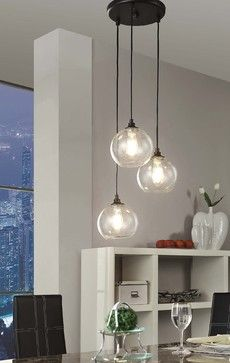 Uptown 3-light Clear Globe Cluster Pendant - contemporary - Pendant Lighting - Overstock.com $198. Over bed