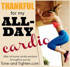 "Tone & Tighten: ""Thankful For My"" Series - Cardio Workout Cardio Workout At Home, Home Exercise Routines, Cardio Routine, At Home Workouts, Workout Routines, Workout Plans, Workouts For Teens, Soccer Workouts, Easy Workouts"