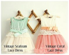 Seafoam & Coral Vintage  Lace Dress by BonjourBabyBoutique on Etsy, $40.00