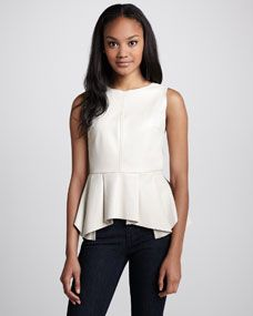 Erin Pleated-Peplum Leather Top, Bone