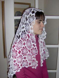 Carmen Motif Rectangular Crocheted Catholic Chapel Veil in White Thread Crochet, Filet Crochet, Chapel Veil, Catholic, Shawls, Lace, Christianity, Gloves, Handmade