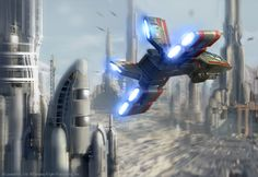 Moldy Crow flies over Coruscant // by Ben Zweifel