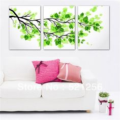 3 Piece Free Shipping Modern Wall Painting Green Tree Fresh Life Home Decorative Art Picture Paint on Canvas Prints A653-in Painting & Calligraphy from Home & Garden on Aliexpress.com