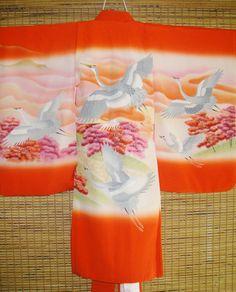 AMAZING GIRLS Japanese Vintage Silk Kimono SET - Gorgeous Childs Ceremonial Silk Kimono & Juban -Many Cranes Mountain - Great for Wall Decor