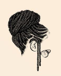 Braids Really Cool African Hairstyles Black Girl Art, Black Women Art, Black Girl Magic, Art Girl, How To Draw Braids, How To Draw Hair, Black Girls Hairstyles, African Hairstyles, Natural Hair Art