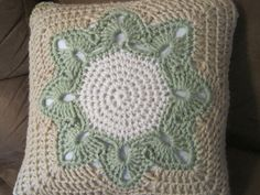 Big flower square - test stage, pattern by Julie Yeager.  Second page of discussion shows different version of the center.  #crochet #square #flower #motif
