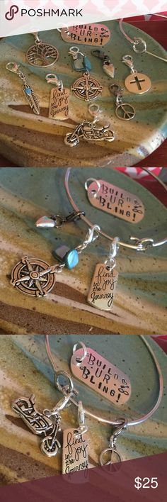 """💎Build UR Bling💎Bangle """"Find joy in the Journey"""" 💎Build UR Bling💎Bangle on Silver tone💎Choose A 3 charm  set when you place the order💎Or  message me other choices💎 This listing is for 1 bangle & 3 charms💎🎁Comes wrapped for the perfect gift🎁 BuildURBling Jewelry Bracelets"""