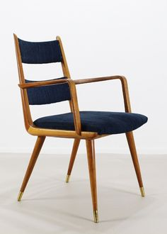 Anonymous; Pear Wood and Brass Armchair, 1950s.