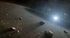 This artist's concept illustrates an asteroid belt around the bright star Vega. Image credit: NASA/JPL-Caltech