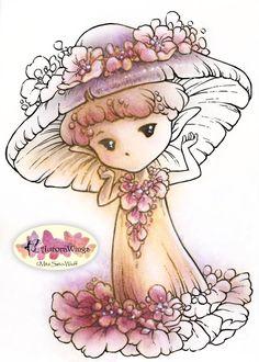 Digital Stamp  Mushroom Flower Sprite  Whimsical by AuroraWings