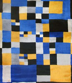 Delaunay Hand-woven Tapestry Signed, Carrés magiques,1980 - This would make a nice quilt :)