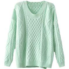 Blackfive Rhombus Pattern Split Hem Loose Pullover Jumper ($30) ❤ liked on Polyvore featuring tops, sweaters, jumpers, shirts, pullover shirt, long shirts, green top, loose sweater and long sweaters