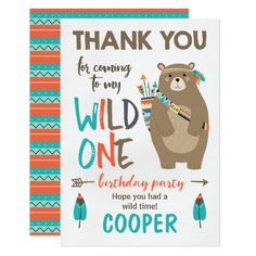 Wild One tribal Bear Birthday Thank You Card
