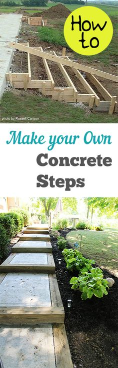 Garden Stepping Stones How to Make Your Own Concrete Steps. Projects and tutorials for making cement steps for your outdoor space.How to Make Your Own Concrete Steps. Projects and tutorials for making cement steps for your outdoor space. Cement Crafts, Concrete Projects, Backyard Projects, Outdoor Projects, Garden Projects, Home Projects, Outdoor Decor, Backyard Patio, Diy Patio