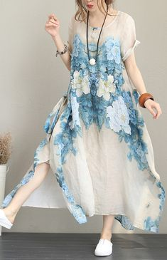 vintage print silk linen maxi dress casual O neck short sleeve traveling dress top quality baggy dresses side open caftans Baggy Dresses, Linen Dresses, Cotton Dresses, Boho Outfits, Vintage Outfits, Couture Dresses, Fashion Dresses, Casual Summer Dresses, Dress Casual