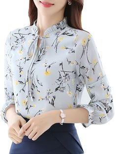 Buy Women's Blouse Flare Sleeve Floral Pattern Ruffled Collar Plus Size Top & Blouses - at Jolly Chic Dress Neck Designs, Designs For Dresses, Blouse Designs, Stylish Dresses, Fashion Dresses, Kurta Neck Design, Blouse Styles, Blouses For Women, Trendy Tops For Women