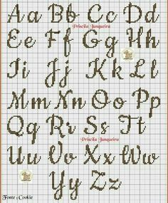 broderie - Page 2 - Cross Stitch Cross Stitch Letter Patterns, Monogram Cross Stitch, Cross Stitch Charts, Cross Stitch Designs, Stitch Patterns, Cross Stitch Font, Loom Patterns, Alphabet Au Crochet, Embroidery Alphabet