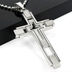 For Sale - Mens Boys Silver Fashion Stainless Steel Cross Pendant Necklace Chain Hot 2013 Necklace Types, Men Necklace, Pendant Necklace, Necklace Chain, Cross Jewelry, Necklace Price, Chains For Men, Metal Necklaces, Stainless Steel Chain