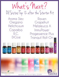 Top 12 After the Starter Kit! Best essential oils to use for beginners after you've purchased your Young Living starter kit.  www.YoungLiving.org/MegaMom9