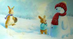 childrens books illustrations | Rabbits Snowman Younger Children's Book Illustration Alison Edgson ...