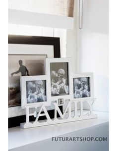 porta foto triplo con scritta famiglia, Family triple photo frame Decor, House Styles, Riviera Maison, Interior, Inspiration, Home Accessories, Frame, Home Decor, Home And Living