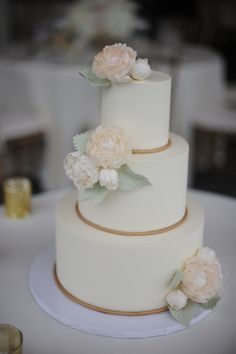 Buttercream elegance with sugar flowers www.confectionerydesigns.net