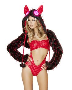iEDM presents J Valentine's Red Spike Faux Fur Shrug! Light up Hood Sold Separately. 100% Acrylic Faux Fur. Made in the USA åÊ