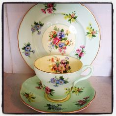 Beautiful Old Foley mint green Tea cup trio with English cottage garden flowers