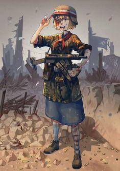Anime anime anime girls Armia Krajowa Polish Armed Forces soldier World War II blood short hair blonde uniform gun weapon Anime Military, Military Girl, Manga Art, Manga Anime, Anime Art, Fanarts Anime, Anime Characters, Guerra Anime, Character Art