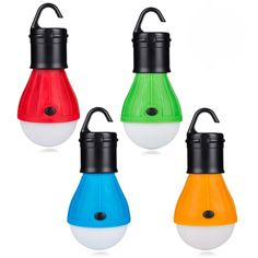 Mini Camper Light for Hiking Fishing Emergency Light 4 Pack Power Outage LED Camping Light Bulbs Tent Lamp with Clip Hook Backpacking Portable Hanging Lantern Multicolor, Set of 4 Hurricane