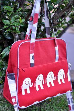 love this elephant weekender bag by B. Yazoo