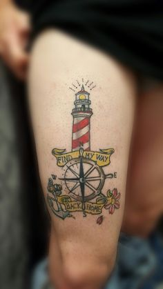 Lighthouse anchor old school tattoo