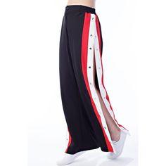 JET SETTER SNAP TRACK PANTS - BLACK/RED