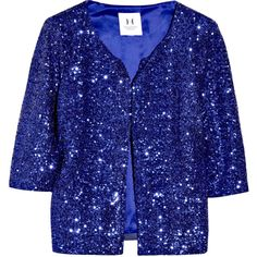 Halston Heritage Cropped Sequined Jacket ($240) ❤ liked on Polyvore featuring outerwear, jackets, tops, coats, blazer, women, sequin jacket, sparkly jacket, nylon jacket and sequin blazer jacket