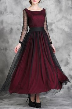 Voile Spliced Long Sleeve Maxi Dress WINE RED: Maxi Dresses | ZAFUL