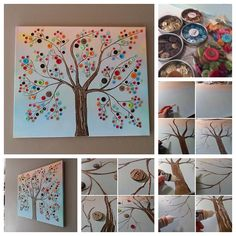 Here's a fun DIY project to create your own fabulous wall buttons! They're inexpensive, easy to create, and super cute in your home. :)  Step by step --> http://wonderfuldiy.com/wonderful-diy-vibrant-button-tree-wall-decor/