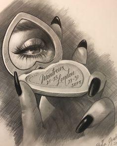 Chicano Art Tattoos, Chicano Drawings, Dark Art Drawings, Art Drawings Sketches, Tattoo Drawings, Gangster Tattoos, Arte Cholo, Cholo Art, Chicanas Tattoo