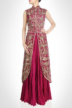 This is a long jacket lehenga. This lehenga is in crushed and gorgette fabric. Jacket of this lehenga is with round corner. Jacket is heavily embroidered with zari, nakshi giving it very royal look. Lehenga skirt is made of crushed fabric. Indian Attire, Indian Wear, Indian Style, Long Jacket Lehenga, Lehenga Skirt, Anarkali Lehenga, Long Anarkali, Bridal Lehenga, Pakistani Dresses
