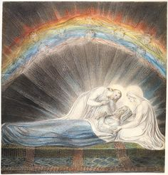 """William Blake: """"The Death of St. Joseph"""" Illustration for the Bible (New Testament), object 1 (Butlin Water color, possibly with some pen and ink drawing. National Gallery of Art, Washington, USA Vintage Wall Art, Vintage Walls, William Blake Art, National Gallery Of Art, St Joseph, Western Art, Portrait Photo, Great Artists, Painting"""