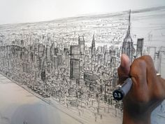 British artist Stephen Wiltshire has managed to draw the manhattan skyline from memory. These were drawn after a half hour helicopter trip over the city.   Stephen Wiltshire was diagnosed with autism at the age of three and he has an unusually powerful photographic memory. He can look at the subject of his drawing once and reproduce it accurately with photographic detail, down to the exact number of columns or windows on a building.