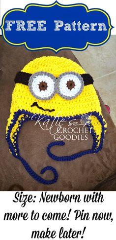 Free Minion Crochet Hat Pattern - Katie's Crochet Goodies by Minion Crochet Patterns, Minion Pattern, Newborn Crochet Patterns, Crochet Slipper Pattern, Crochet Kids Hats, Crochet Crafts, Crochet Baby, Free Crochet, Hat Patterns