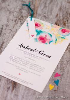 Invitación de bodas con acuarelas de Project Party Studio