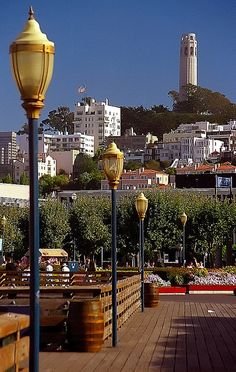 Coit Tower from Fisherman's Wharf. San Francisco, CALIFORNIA