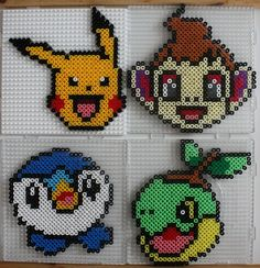 Pikachu, Chimchar, Piplup and Turtwig.  Designs from the Totum Pokémon Diamond and Pearl set. Made with Hama beads.