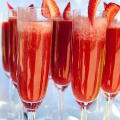 Cranberry Mimosas with a Strawberry on top! Stop by for an early Thanksgiving Celebration at Red House Cafe tomorrow...Ask for a Cranberry Mimosa with your entrée www.redhousecafe.com