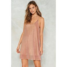 Nasty Gal Glitter in the Air Mini Dress ($50) ❤ liked on Polyvore featuring dresses, rose gold, racerback cami, racerback camisole, strappy cami, glitter dress and rose gold dress