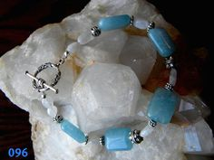 Aquamarine and Moonstone Bracelet by Krystalins on Etsy, $32.00