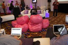 Day 2 in the lounge beings with a pile of hot pink bean bags. Hot Pink Furniture, Bean Bag Furniture, Pink Bean Bag, Bean Bags, Color Splash, Lounge, Ideas, Airport Lounge, Drawing Rooms