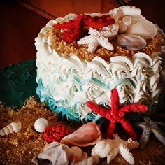 Beach theme meringue torte Beach Themes, Meringue, Birthday Cake, Desserts, Food, Merengue, Birthday Cakes, Meal, Deserts